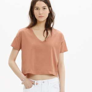 Madewell Tops - Madewell luster cropped cotton v neck tee metallic